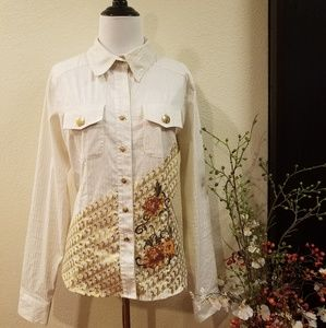 Baby Phat Collar Long Sleeve Button Shirt Large